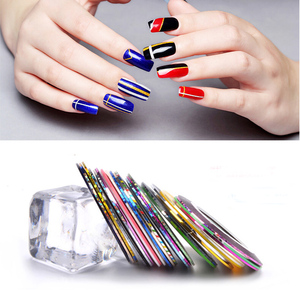 Image 5 - 30pcs Coloful Sliders For Nails Sticker Decals Tape For Nail Art Decorations Striping Tape Line Adhesive Ribbon 1mm