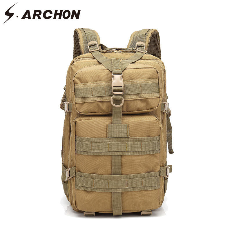 S ARCHON Tactical Large Capacity Camouflage Backpack Waterproof Army Bags Pockets Unisex Nylon Durable Military Work