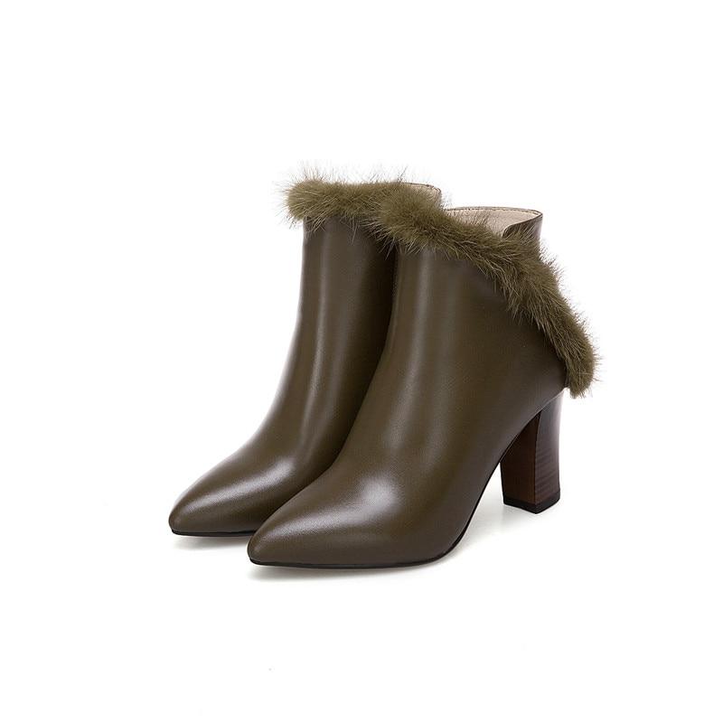 Fur Not 2018 Mode Talons Masgulahe Fur Haute Hiver Fourrure De Bottes Bout Cuir With En Véritable Black Automne army Fur black Dames Pointu Zip Green Épais 4OwwxqSd