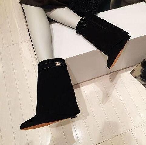 Hot Selling High Quality Shark Lock Suede Wedge Boots Height Increasing Fold Over Ankle Boot