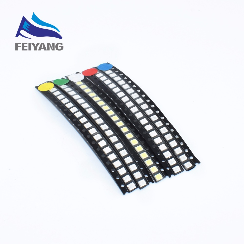 5 Values 500PCS/LOT Super Bright 3528 1210 SMD LED Red/Green/Blue/Yellow/White 100pcs Each LED Diode 3.5*2.8mm 3528 R/G/B/W/Y