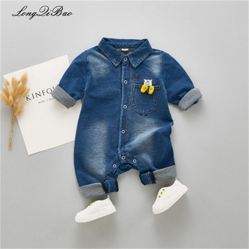 c77d490dc122 Newborn Baby Boys Cartoon Bear Long Sleeve Lapel Collar Denim Jeans Rompers  Kids Infant Casual Jumpsuits