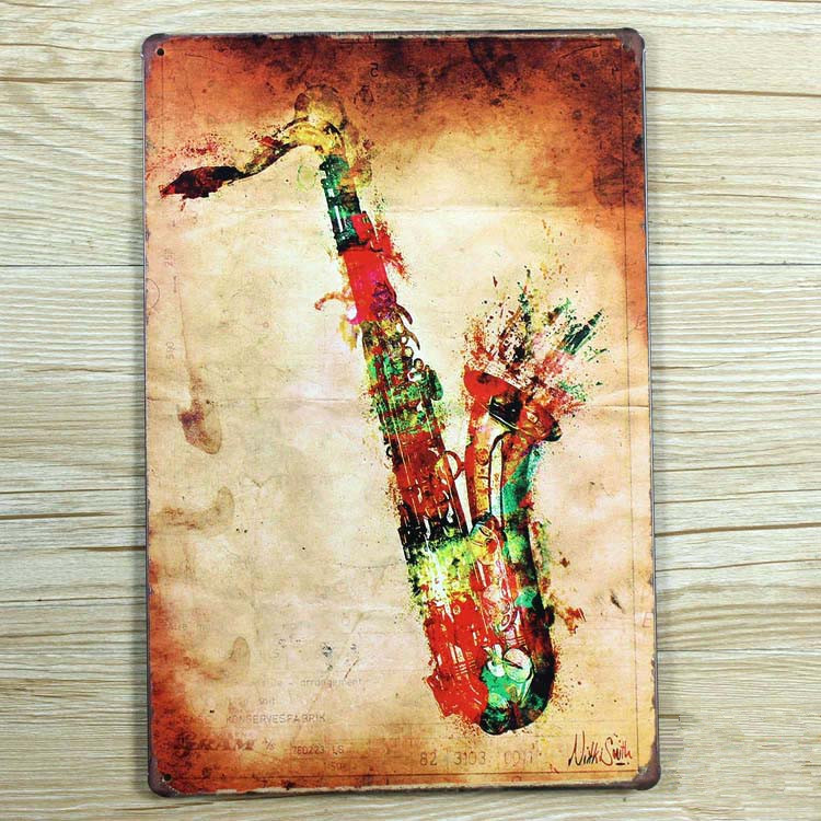 rzxd 173 saxophone vintage metal painting tin signs bar pub wallpaper art decor mural poster. Black Bedroom Furniture Sets. Home Design Ideas