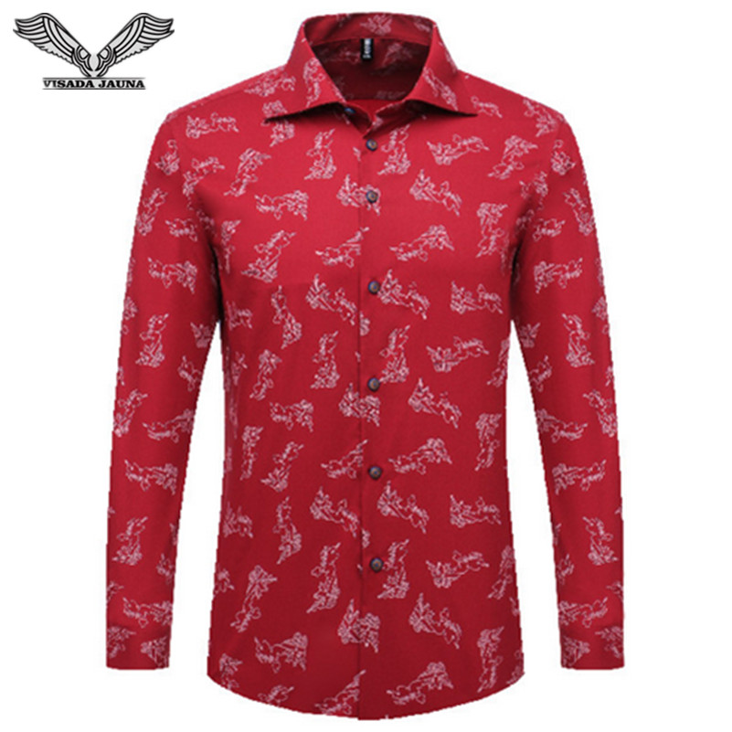 VISADA JAUNA 2017 New Arrival Men Shirt Spring Cotton Casual Square Collar Long Sleeve Brand Clothing Camisa Shirt 5XL N1382