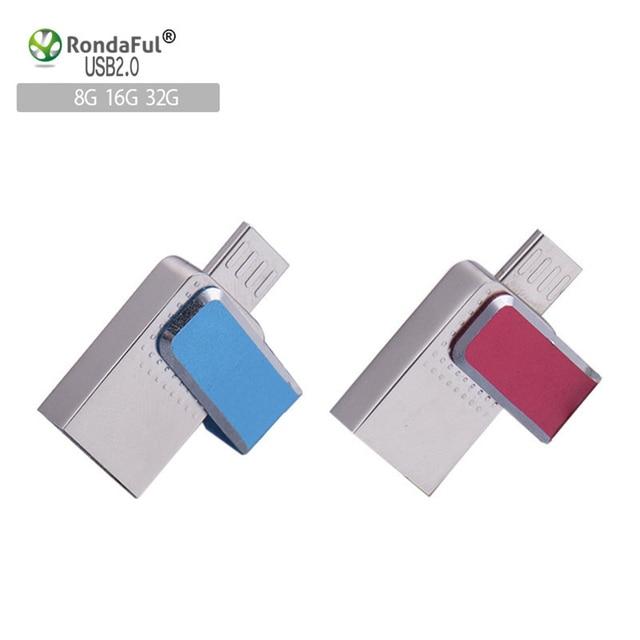 Rondaful otg usb flash drive de 8 gb 16 gb 32 gb usb pendrive otg externa micro usb memory stick pen drive u disco de metal lleno capacidad