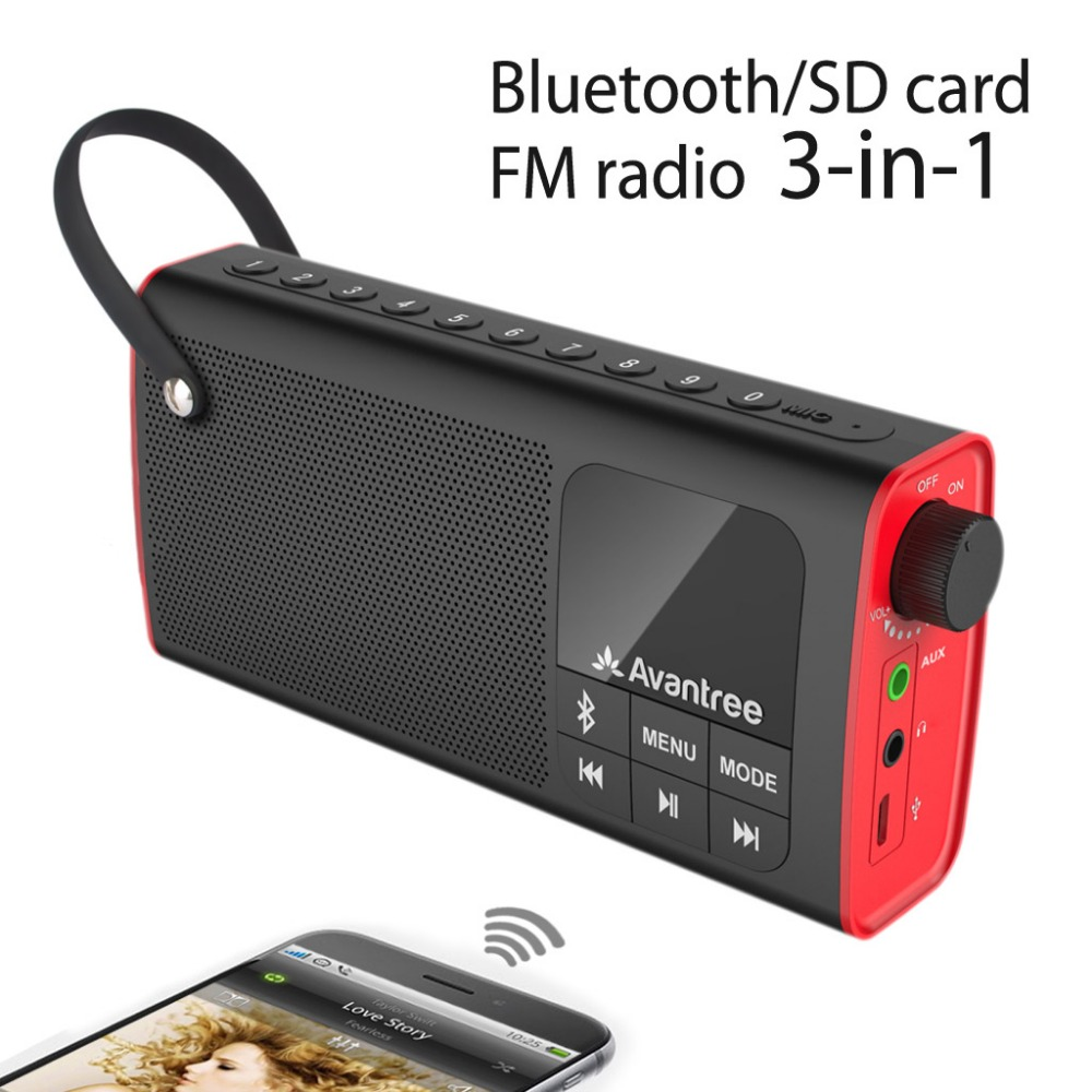 Avantree Portable Speaker 3 In 1 Bluetooth Fm Radio Sd Card Player Outdoor Indoor One Click Entry Replaceable Battery Sp850 Speakers From