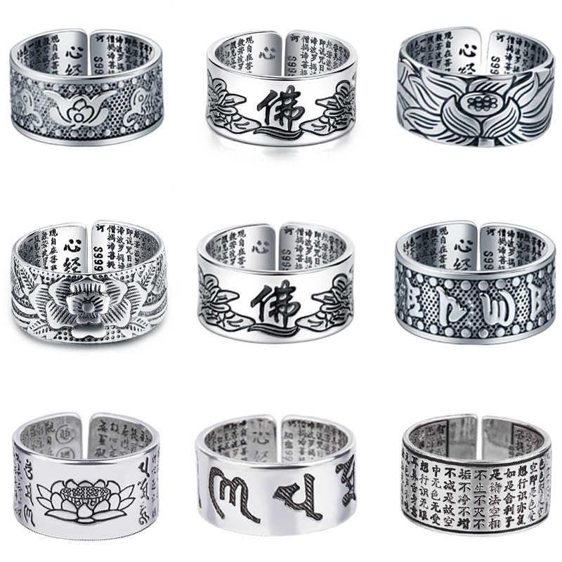 Joyería de color plateado flor de loto anillo abierto para hombres moda masculina tamaño libre anillos de Sutra budista corazón regalos