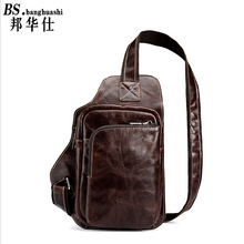 Retro Leisure First Layer of oil Wax Leather Cowhide men 's Chest Leather man bag Shoulder bag Men's Leather Bag Shop