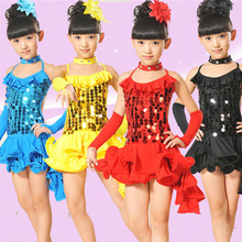 20pcs lot Free Shipping Sequin Latin Dance Costume Stage Fancy Dress Costume for Kids Girls Children