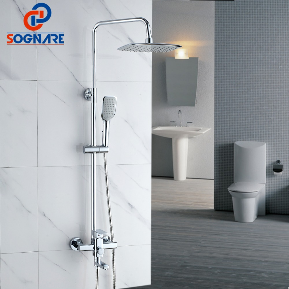 SOGNARE Chrome Bathroom Rainfall Shower Faucet Set Mixer Tap With Hand Sprayer Wall Mounted Single Handle Bath Shower Sets D7103 new chrome finish wall mounted bathroom shower faucet dual handle bathtub mixer tap with ceramic handheld shower head wtf931