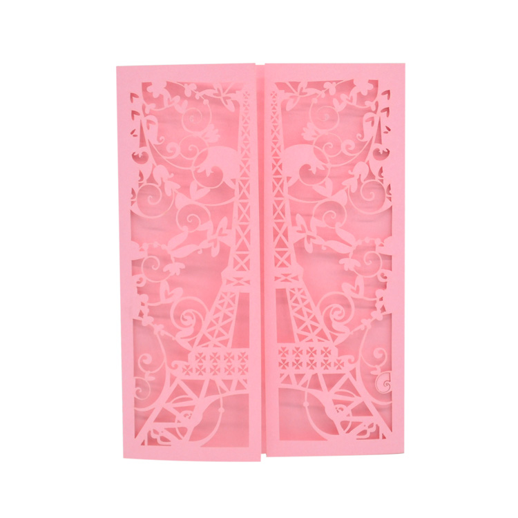 30 pieces laser cut custom paris tower <font><b>invitation</b></font> <font><b>card</b></font> with <font><b>blank</b></font> envelope image