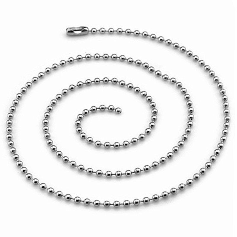 Customized 45cm,50cm,60cm Stainless Steel Bead Ball Chain Necklace Jewelry Chain for Dog Tag DIY Pendent Accessories 2.4mm