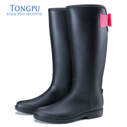 TONGPU Ladies Tall Rain Boots Fashion Style Hot Sale Comfortable Non-Slip Outsole Women Riding Boots 10-069