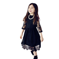 Korean Kids Girl Prom Dress 2017 Summer Autumn New Mother And Daughter Family Child Middle Sleeves