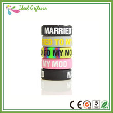Customized silicone rubber rings lovely name logo debossed ink filled silicone rings wedding party usage(China)