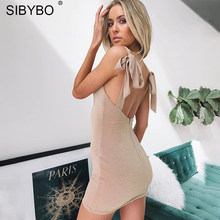 SIBYBO Sparkly Lace Up Sexy Dress Women 2018 Autumn Summer Backless  Spaghetti Strap Mini Bodycon Bandage