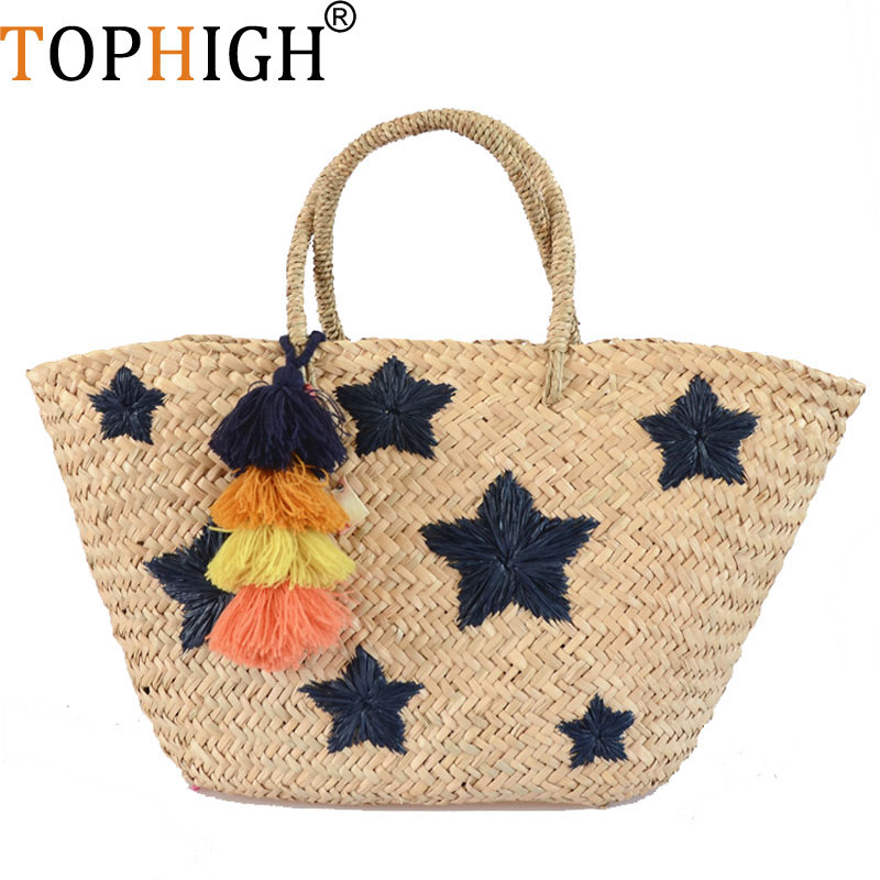 2018 Women Straw Bag Women Letter star smile face Handbag Large Big Tote Tassel drawstring Beach