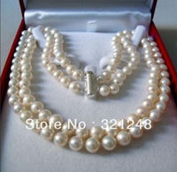 New Beads 2013 DIY 2 Rows 8 9MM WHITE AKOYA SALTWATER PEARL NECKLACE 17 18 Beads