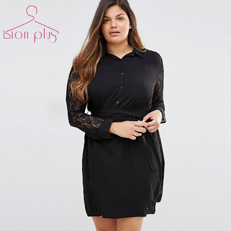 Detail Feedback Questions about OL Style Black Dress Plus Size 6xl 5xl 2017  Spring Long Sleeve Lace Patchwork Women Office Dress Belt Slim Shirt Collar  ... ac3c3b6ff633