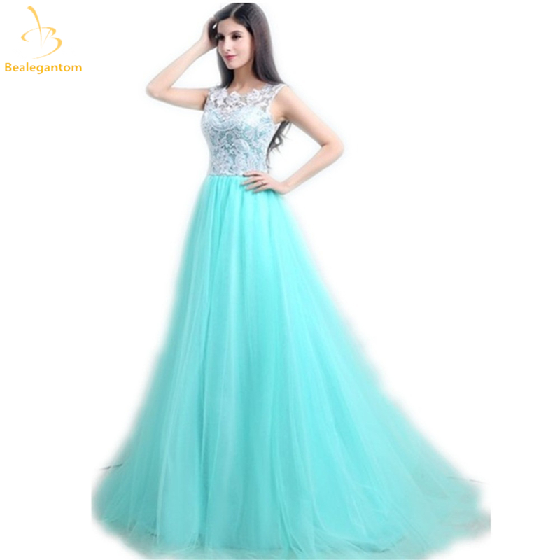 Bealegantom Cheap   Prom     Dresses   2019 With Sleeveless White Lace Mint Green Tulle Long Party Evening   Dress   Under 100 QA1232