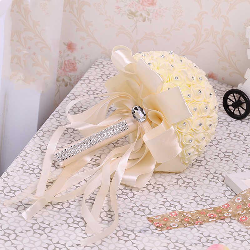 Bouquet de mariée artificiel à la main beauté mousse Roses Bouquet de mariage accessoires de décoration de fête