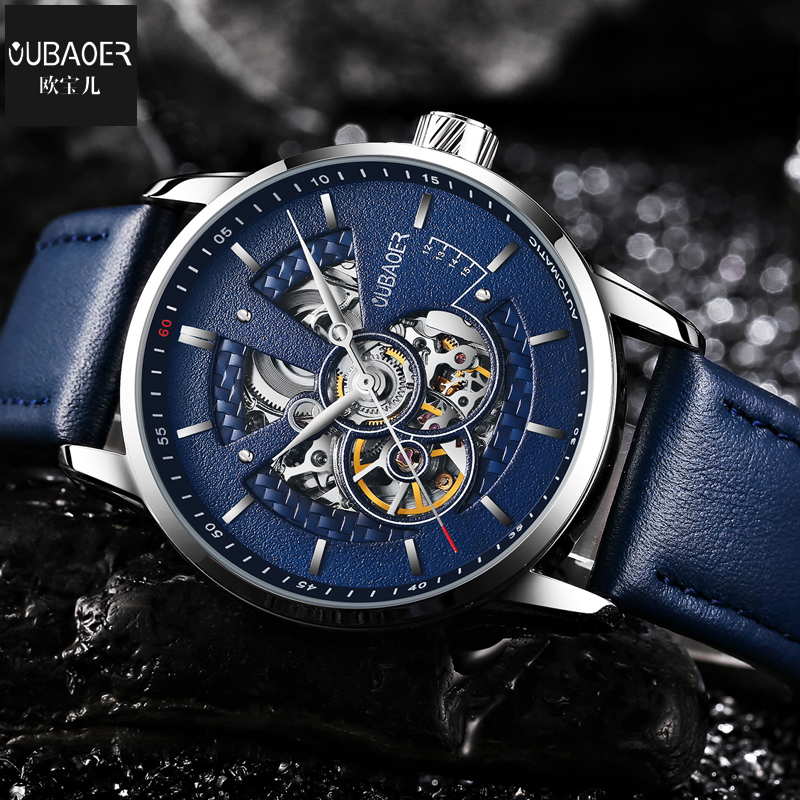 OUBAOER Brand Business Men Mechanical Watches Genuine Leather Band Casual Men's Automatic Watches Male Clock Relogio Masculino gucamel automatic mechanical watch hollow out design genuine leather band for men