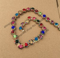 1 Yard Lot 1 2cm Sunflower Colorful Blue Red Yellow Pink Green Crystal Rhinestone Gold Chain