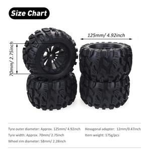 Image 5 - 2020 New 4PCS 125mm 1/10 Monster Truck Tire & Wheel Hex 12mm For Traxxas Tamiya Kyosho HPI HSP Savage XS TM Flux LRP