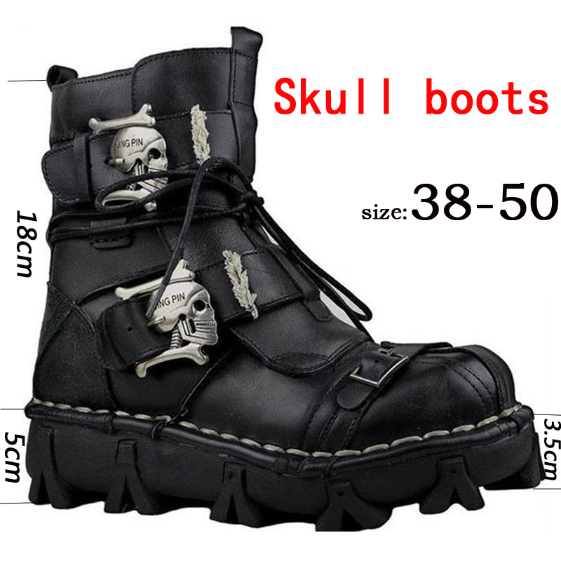Men's Genuine Leather Skull Gothic Punk Combat Boots Motorcycle Boots Cowhide Genuine Leather Work Boots Martin Boots