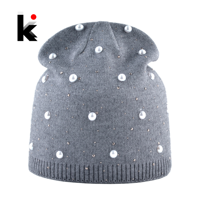 Winter Knitted Beanie Women Fashion Rhinestone Pearls Knitting Hats Ladies Casual Skullies Cap Female Solid Color Casual Bonnet