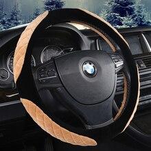 KKYSYELVA Winter Car Steering wheel Cover Universal 38cm warm Auto covers inner acccessoreis