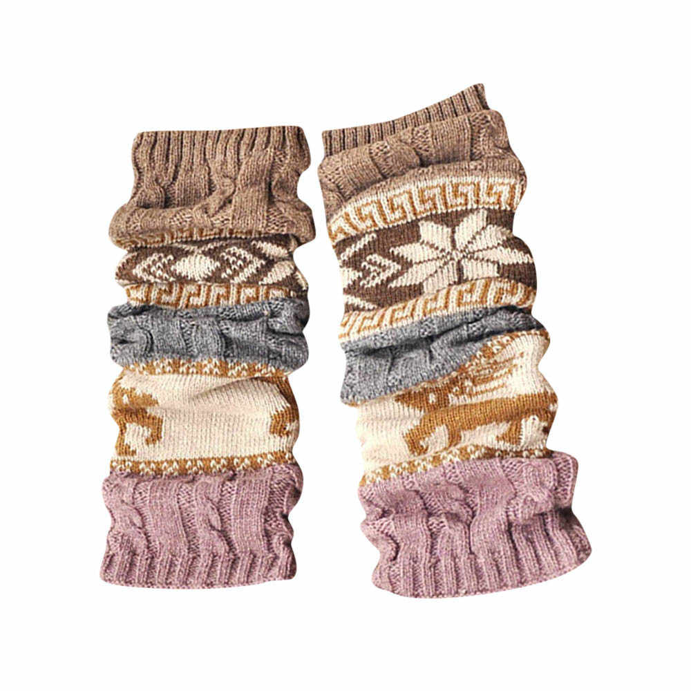 2019 New Arrival Winter Warm Long Leggings Warmers Animal Print Cable Knit Knitted Crochet High Long Leggings Calcetines Mujer