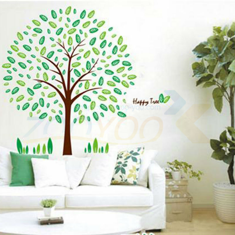 Family Tree Wall Decal Fresh Green Leaves Pvc Wall Sticker