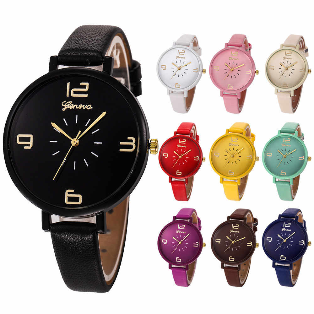 Genève mode femmes montre Faux cuir Quartz dames robe de luxe marque étanche montre-bracelet horloge hommes montres relogio