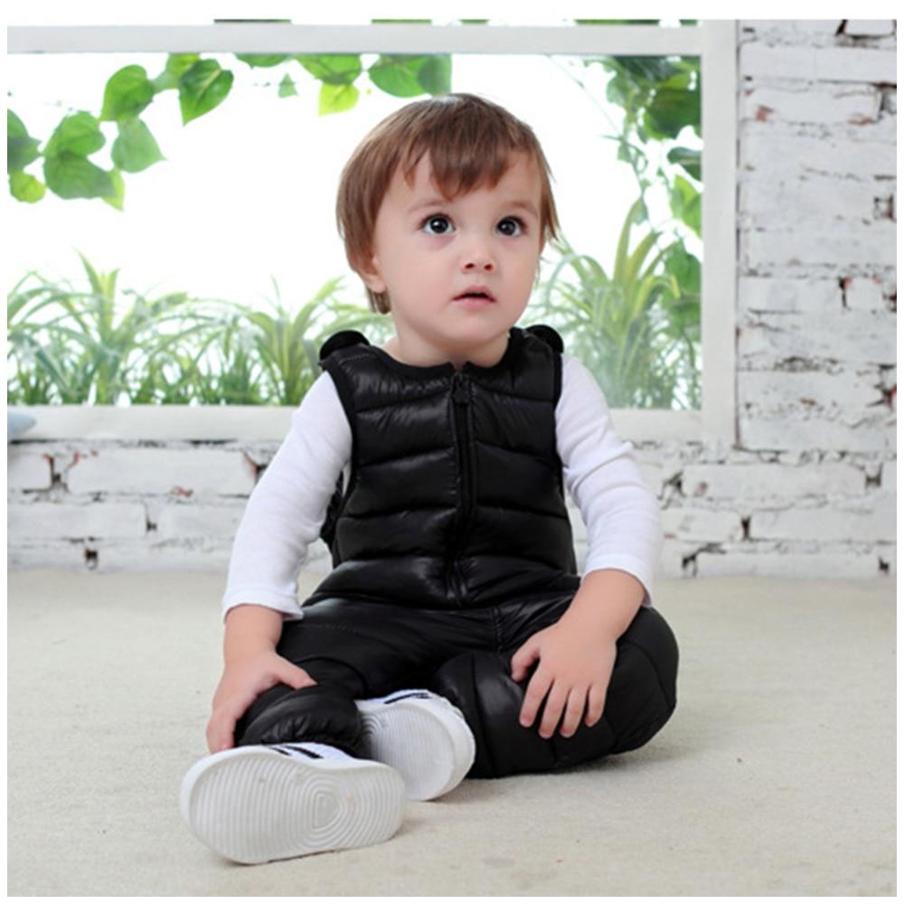 Winter Children Down Bib Pants Baby Girls Boys Overalls Toddler Pants Warm Kids Pants Waterproof Trousers