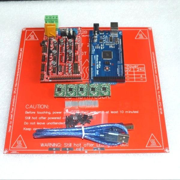 1pcs Mega 2560 R3 for arduino + 1pcs RAMPS 1.4 Controller+ 5pcs A4988 Stepper Driver Module+1pcs PCB Heatbed MK2B 3D Printer kit