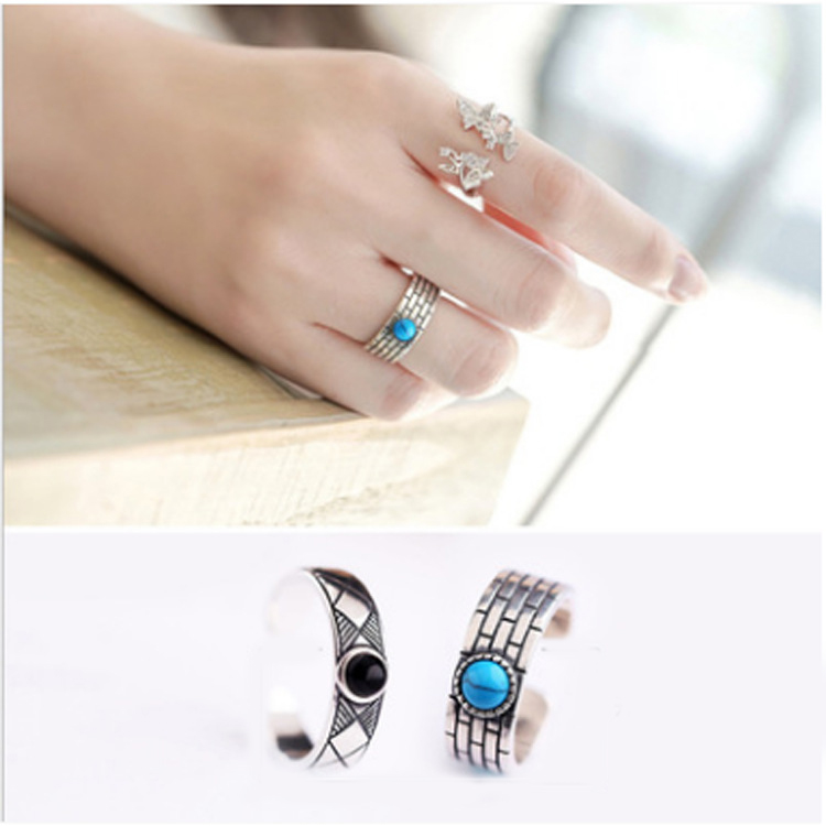 Bohemian Vintage 925 Sterling Silver Blue Round Ring for Women Gift Punk Personality Adjustable Size Finger Rings Anillos Anelli