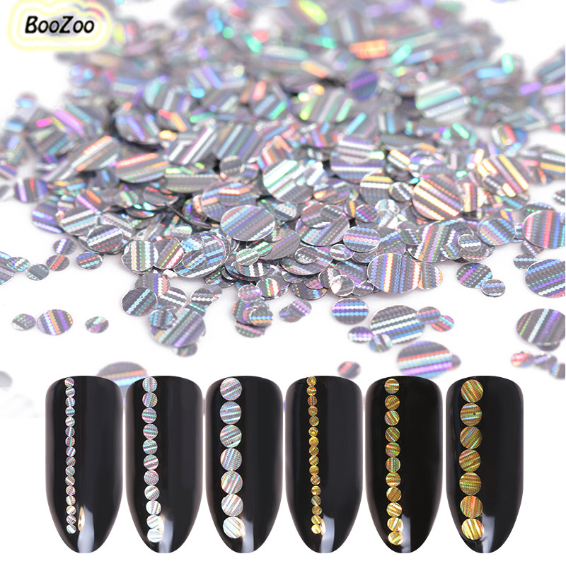 BlueZoo 12 Box Holo Silver Nail Sequins Laser Flakes Round Stripe Nail Sequins Glitter Paillette Nail Art Decoration 3mm 2mm 1mm gd4 1 20g bag cute laser black star nail art shinny glitter cute decoration nail art decoration