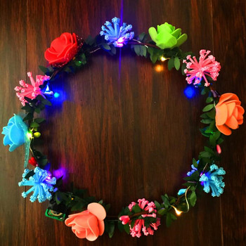 15pc Colorful Flowers LED Glowing Headband Garland Women Girls Flashing Headdress hair Accessory Glow Party   Christmas  navidad