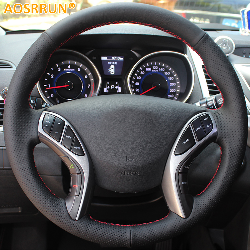 AOSRRUN Leather Hand-stitched Car Steering Wheel Cover For Hyundai Elantra 2011-2016 Avante i30 2012-2016 Aksesori kereta
