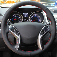 Car Styling Leather Hand Stitched Car Steering Wheel Covers For Hyundai Elantra 2011 2016 Avante I30