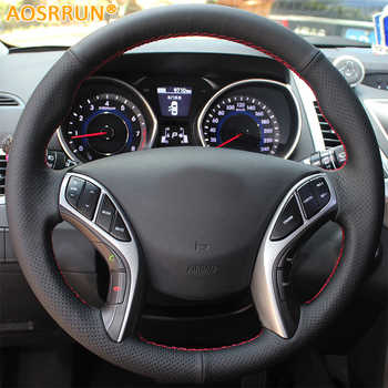 AOSRRUN Leather Hand-stitched Car Steering Wheel Covers For Hyundai Elantra 2011-2016 Avante i30 2012-2016 Car accessories - DISCOUNT ITEM  33% OFF All Category