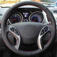 AOSRRUN couvre-volant de voiture cousu main en cuir pour Hyundai Elantra 2011-2016 Avante i30 2012-2016 accessoires de voiture
