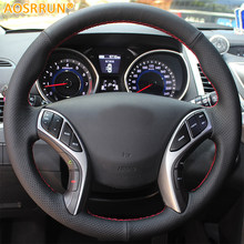 AOSRRUN Mão-costurado Volante Do Carro de Couro Cobre Para Hyundai Elantra  2011-2016 Avante i30 2012-2016 acessórios do carro b3853062d6a5f