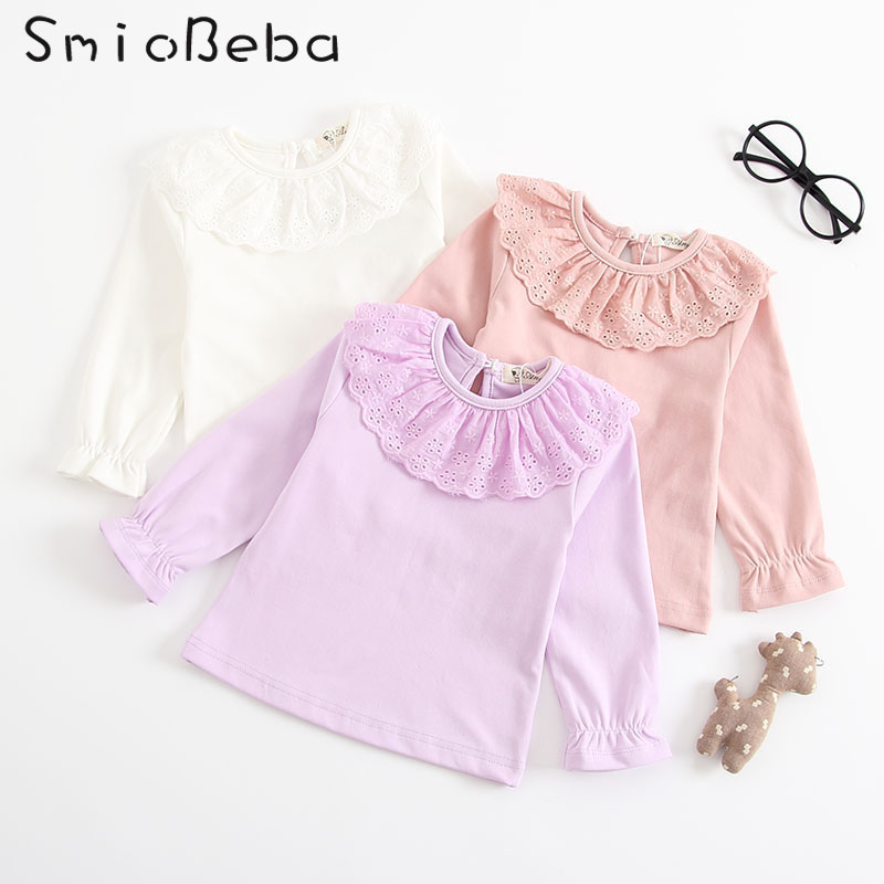 Baby Casual Lace Shirts Kids Safe 100% Cotton Girls White Shirts Collar Top Tee Long Sleeve Shirts Children Clothes 0-3 Years
