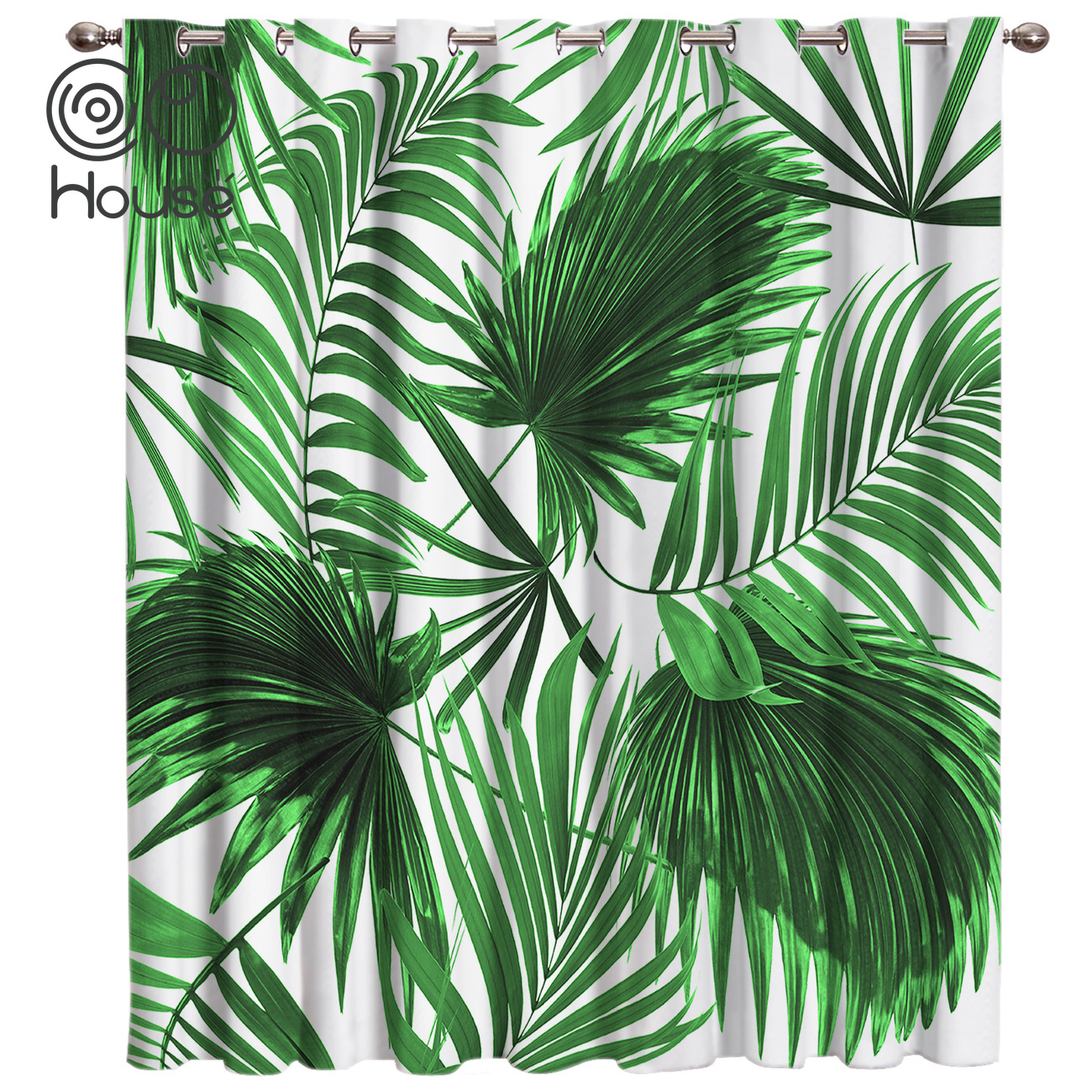 Plant Green Palm Leaf Window Treatments Curtains Valance Living Room Blackout Bathroom Fabric Decor Kids Curtain