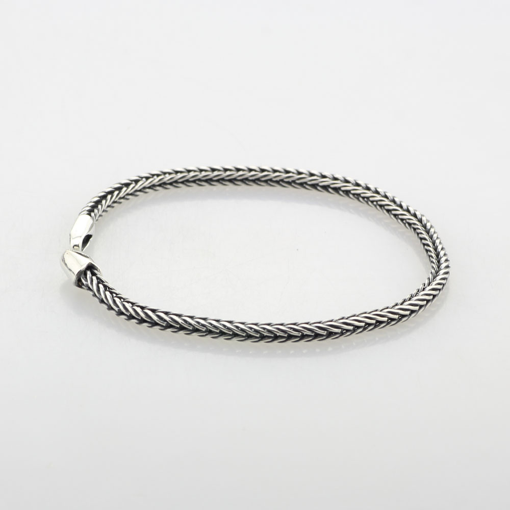 Foxtail Chain Bead Charm Bracelet 925 Sterling Silver