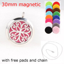 Flower 30mm Magnetic Diffuser Locket Pendant Stainless Steel Aroma Essential Oil Perfume Necklaces