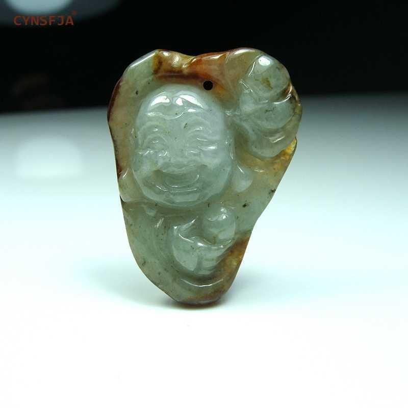 CYNSFJA จริงหายากได้รับการรับรองธรรมชาติเกรดพม่า Jadeite Amulet พระพุทธรูปจี้หยกคุณภาพสูงมือแกะสลักของขวัญที่ยอดเยี่ยม