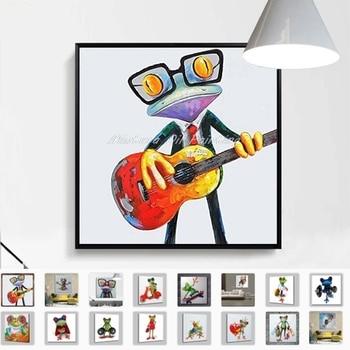 ¡Nuevo! Pintura al óleo grande pintada a mano moderna abstracta de animales de dibujos animados en lienzo música Rana pared arte para la decoración del hogar de la habitación de los niños